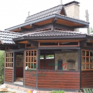 Мангал из кирпича с коптильней в печном комплексе Боровково